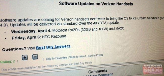 HTC Rezound, Droid RAZR To Get ICS This Week