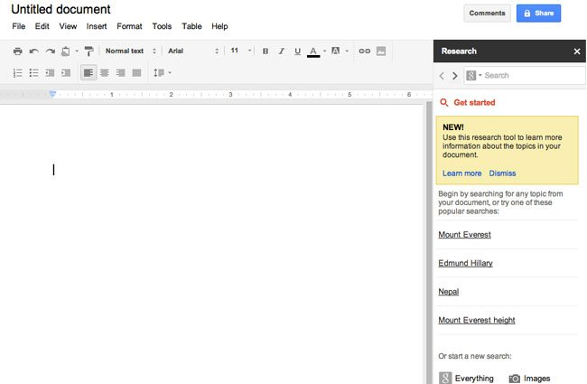 Google documents receives new search research tool for Search documents tool