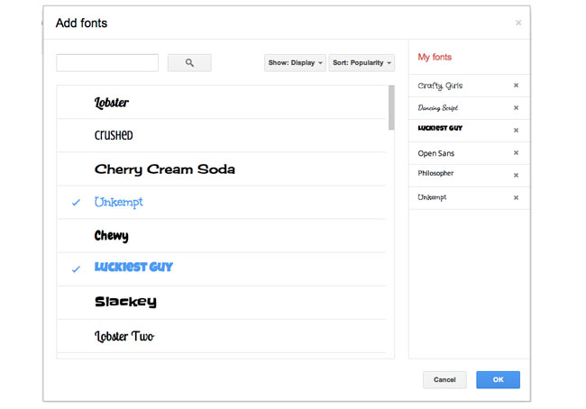 Google Documents Fonts