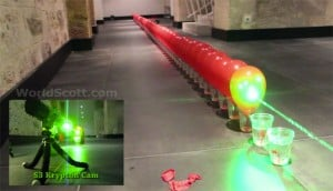 Balloon Popping Record Attempt, Using A High Powered Handheld Laser (video)