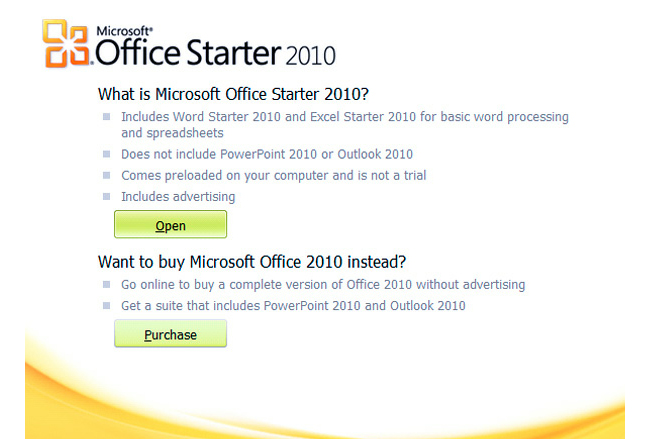 MS Office Starter Edition
