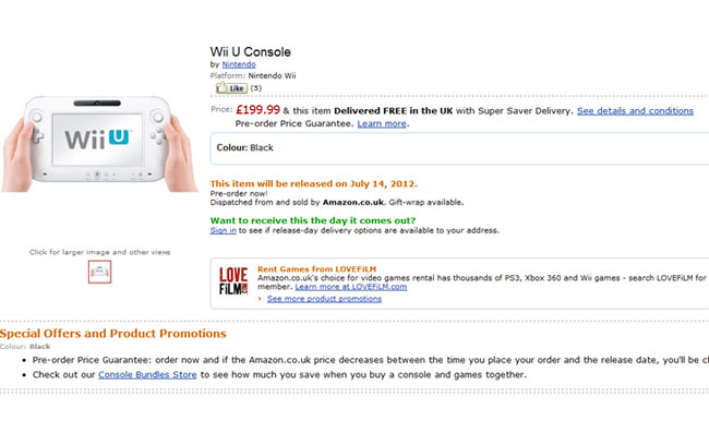 Nintendo wii u price and shipping date leaked by amazon
