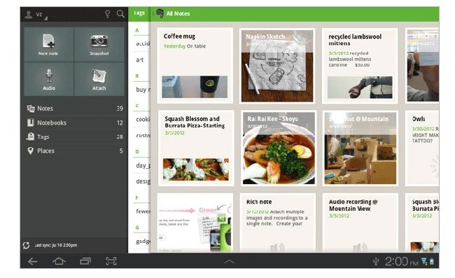 Evernote Android Tablet App