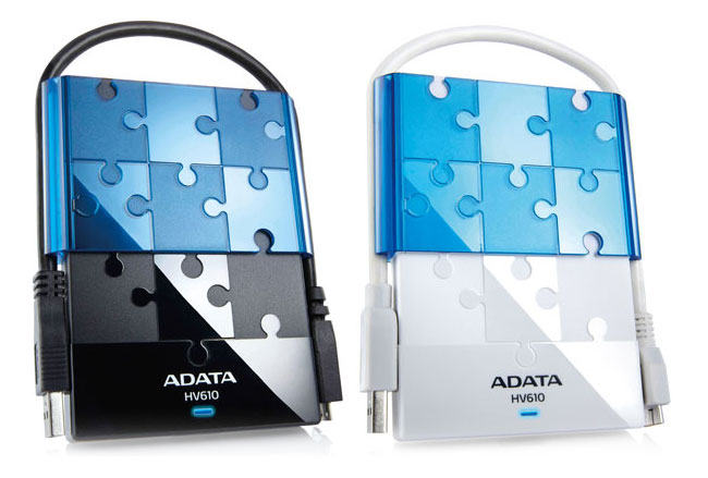 The ADATA DashDrive HV610 is available in either black or white ...