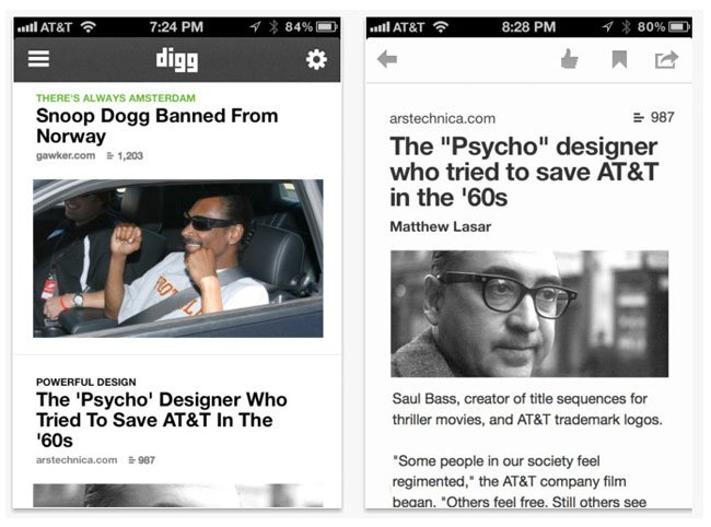 Digg iOS App Updated