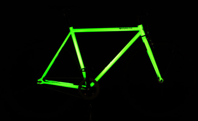 the kilo glow bike frame has been applied with a solar activated paint that has been under development and testing for sometime and lets the frame glow in