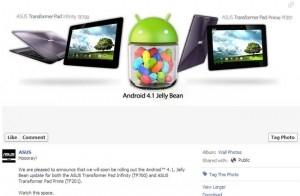 Asus Transformer Pad Infinity And Prime Receiving Android 4.1 Jelly Bean Update This Week