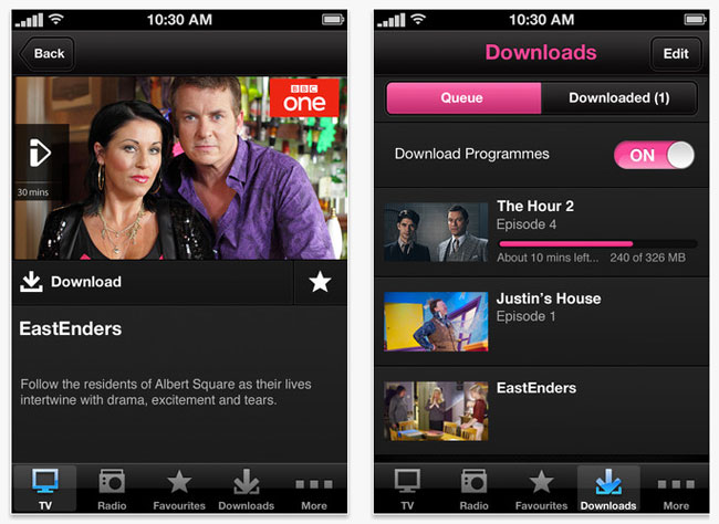 BBC iPlayer offline viewing