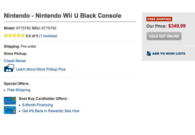 Nintendo Wii U Pre-orders