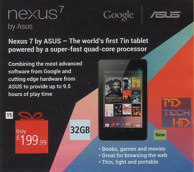 32GB Nexus 7 To Retail For £199 In The UK