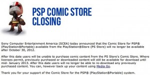 Sony shuts down PSP Comic Store