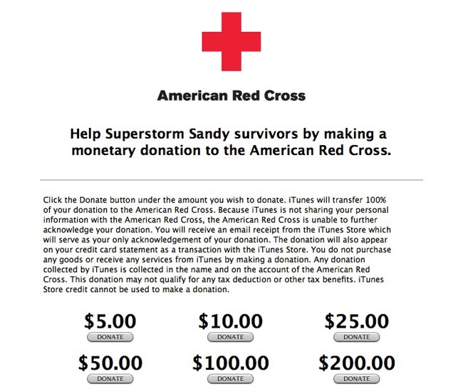 Apple's iTunes Now Taking Donations For American Red Cross