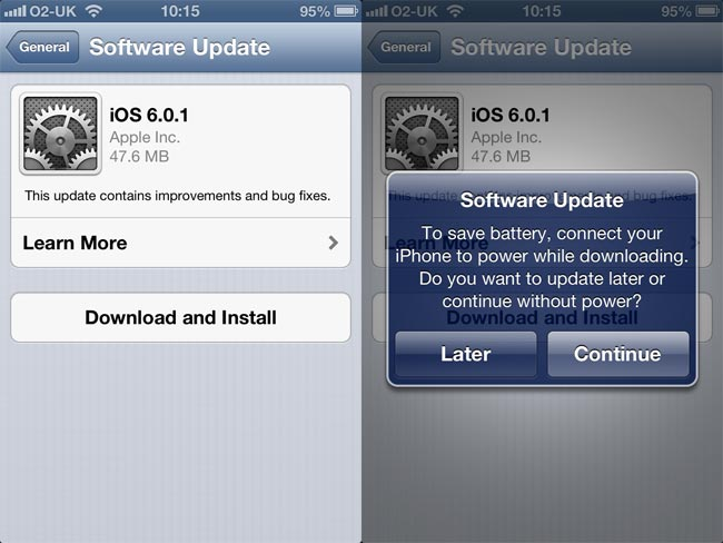 apple releases ios 6 0 1 software update