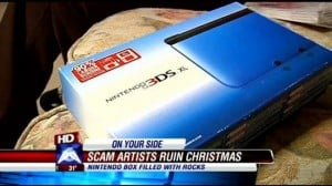 Kid gets a 3DS box full of rocks for Christmas