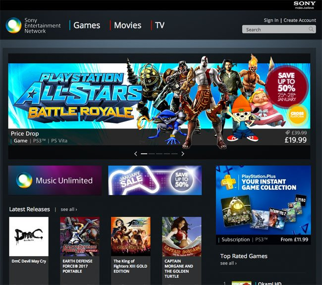 Sony Entertainment Network Web Store