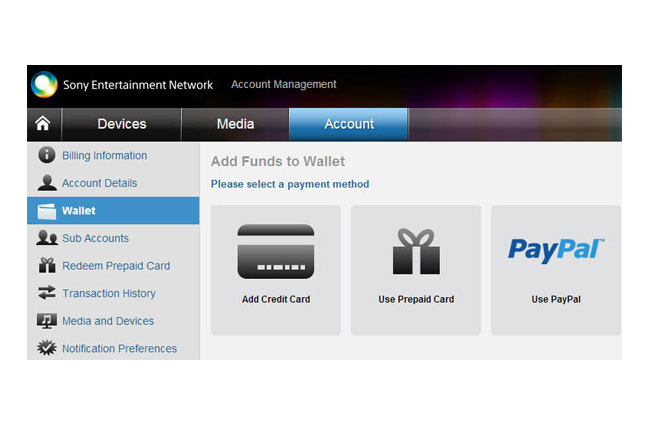 Sony PlayStation Network PayPal Payment