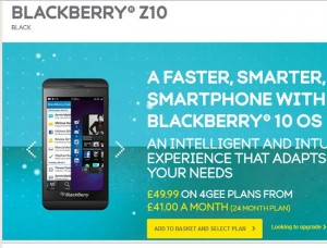 BlackBerry Z10 With 4G LTE Now Available On EE