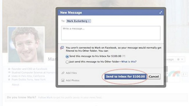 http://www.ubergizmo.com/2013/01/facebook-charges-100-to-send-mark-zuckerberg-a-message/