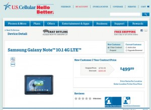 Samsung Galaxy Note 10.1 LTE Now Available From US Cellular
