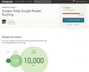 Save Google Reader Petition Hits 40,000 Signatures