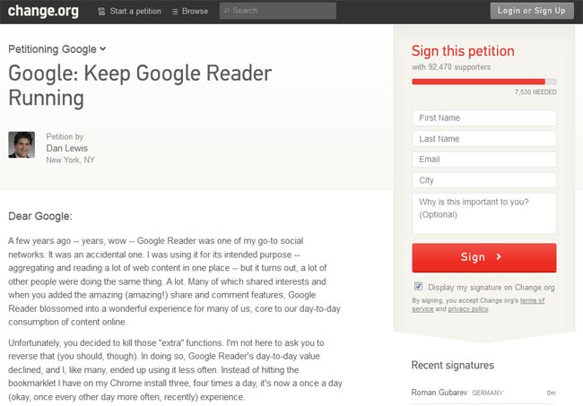 Google Reader Petition