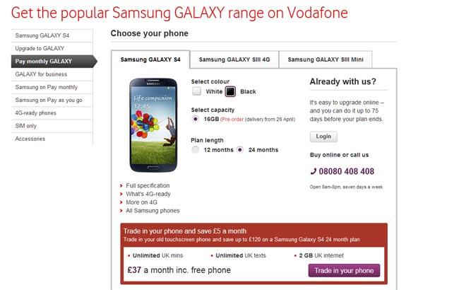 Vodafone samsung galaxy s4