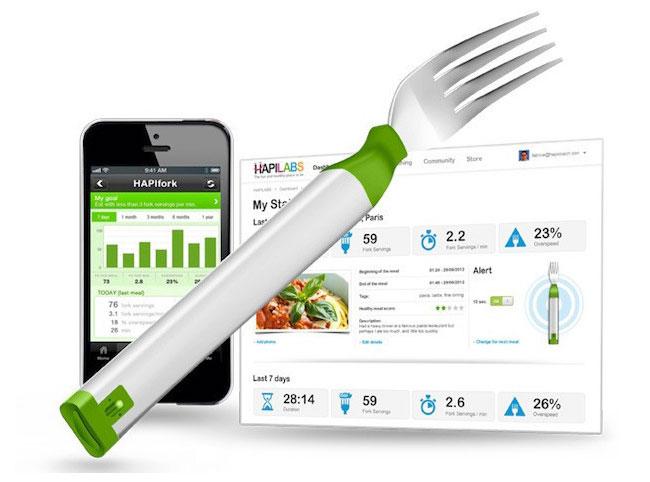 HAPIfork Smart Fork Tracks Your Eating Habits For Healthier Eating (video)
