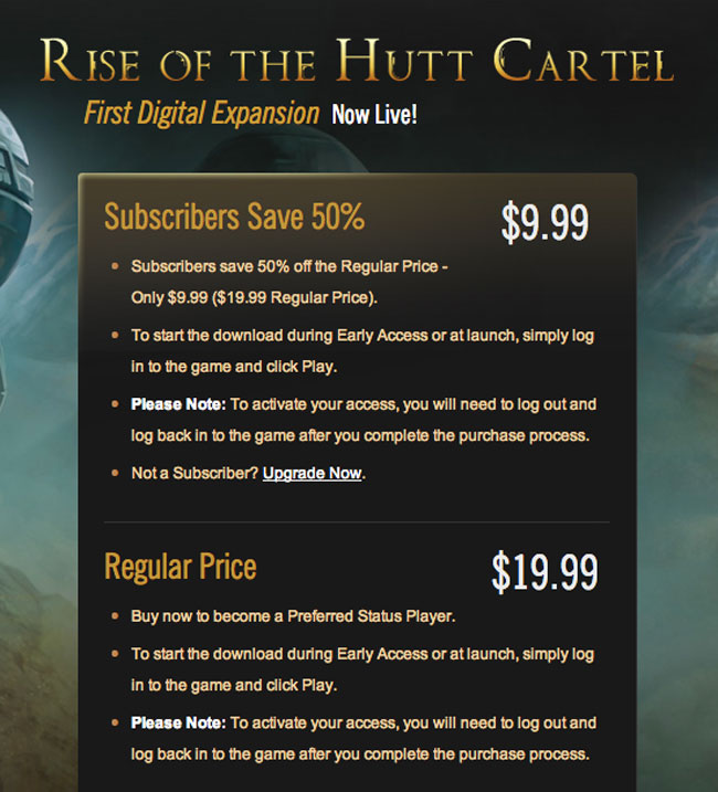Star Wars The Old Republic Rise of the Hutt Cartel DLC Launches (video)