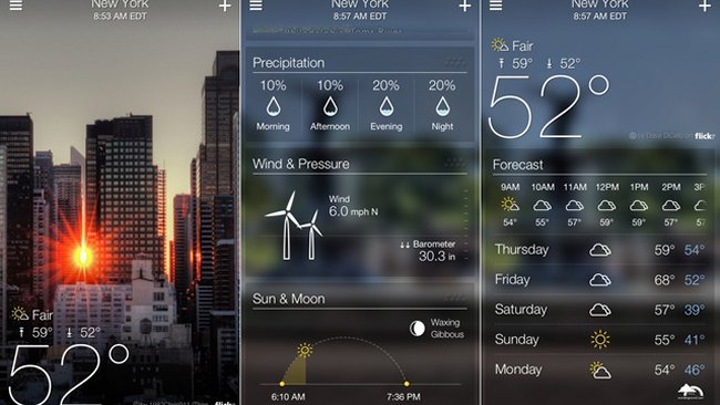Yahoo! Weather for iPhone now with Flickr photos