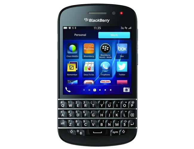 The BlackBerry Q10 features a physical QWERTY keyboard, the device