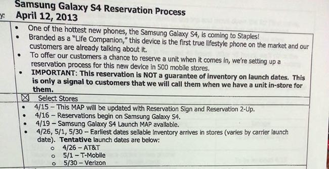 Samsung Galaxy S4 US Release Date