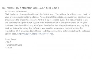 Apple Mountain Lion OS X 10.8.4 Build 12E52 Seeded To Developers