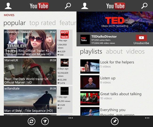 YouTube App For Windows Phone