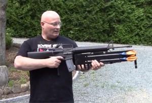 Joerg Sprave Transforms A M16A1 Rifle Into A Knife Firing Slingshot (video)