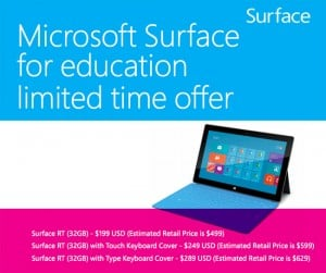 Microsoft Surface RT Tablet Offered To Education Institutions For $199