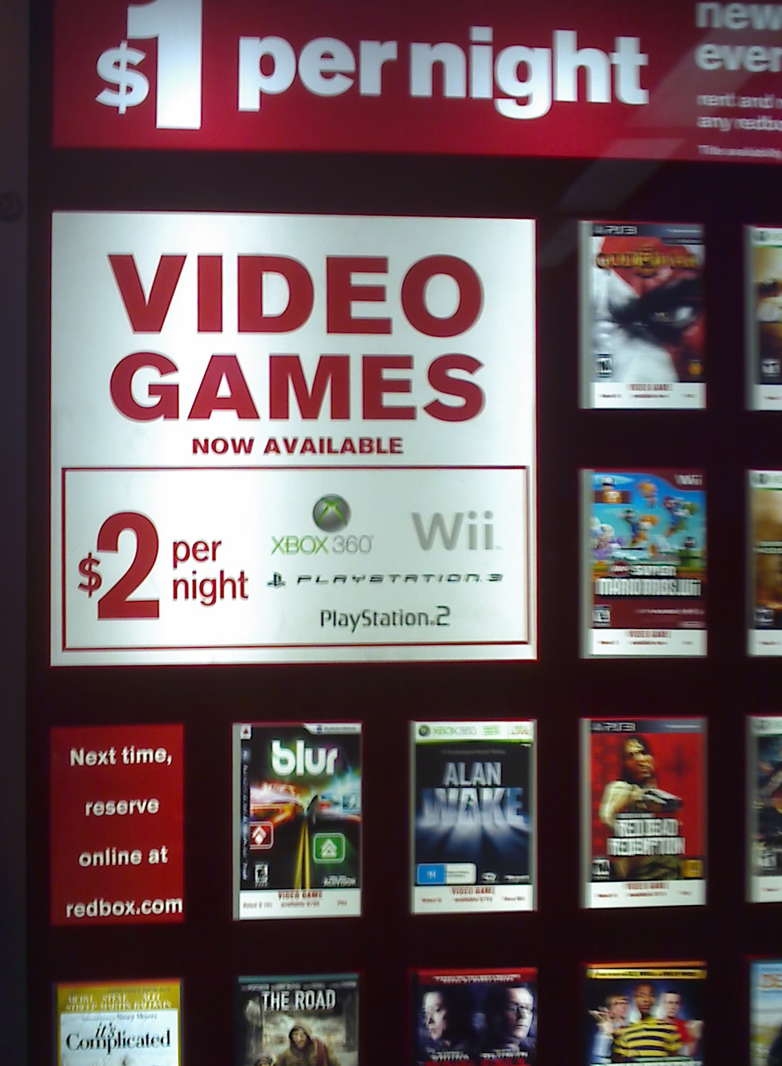 Redbox allows people to rent DVDs and video games at kiosks outside of businesses such as convenience and grocery stores and restaurants 24 hours a day.