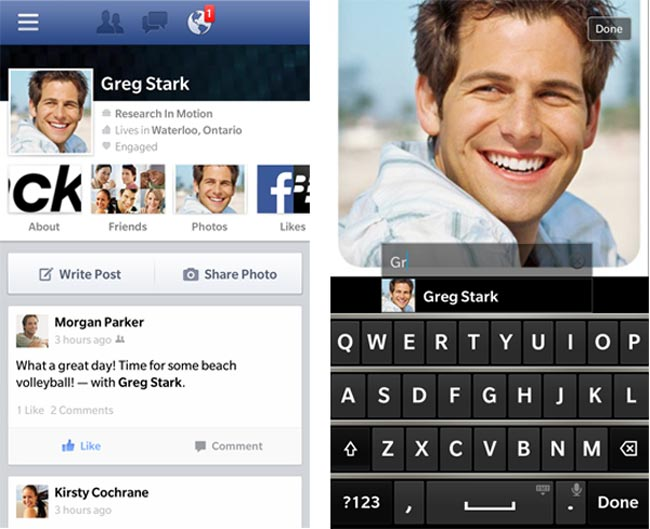 BlackBerry 10 Facebook App
