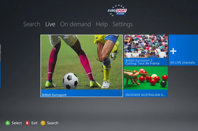 Eurosport Xbox 360 app