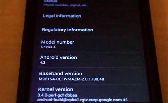Android 4.3 Leaked For Nexus 4 (Video)