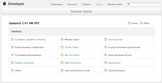 Apple Developer Center Status