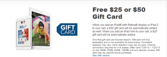 Best Buy to Offer $50 Gift Card on iPad Purchase, $25 on iPad Mini