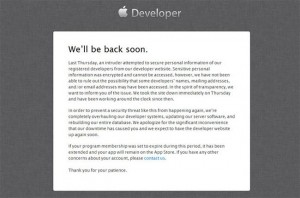 Apple Developer Center Still Offline, Apple Working On Fix