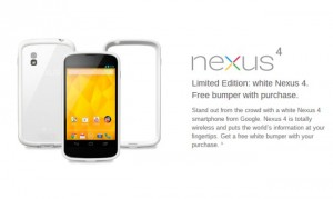 "White Nexus 4 ""no longer available for sale"" in the Play Store"