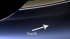 Image of Saturn's Rings Shows a Distant Earth