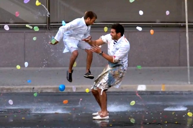 Massive Water Balloon Fight Caught In Super Slow Mo Video