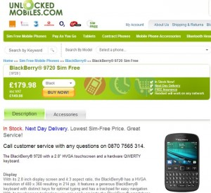Blackberry 9720 Available in UK for £179.99