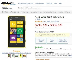 Amazon Offers AT&T Lumia 1020 for $249.99