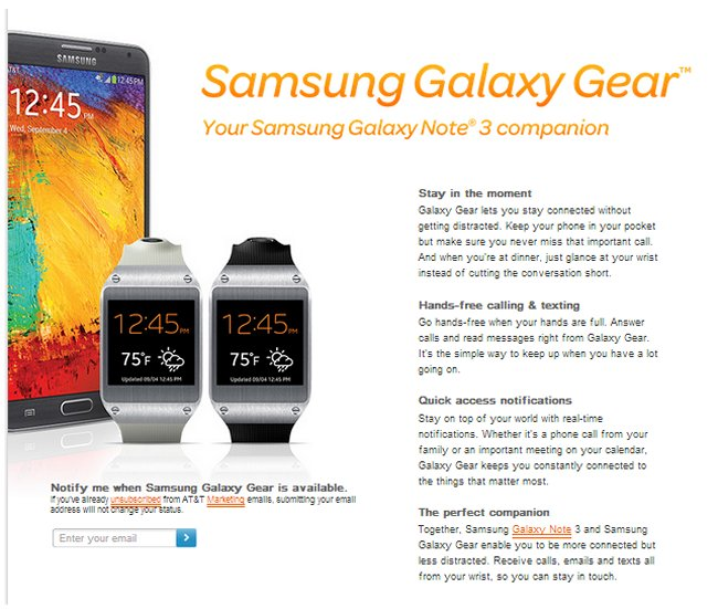 AT&T pre-orders for Samsung Galaxy Gear smartwatch