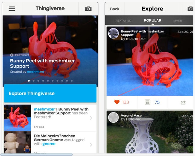 MakerBot Thingiverse iOS App