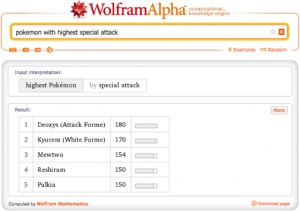 Wolfram Alpha, Siri and Pokemon?